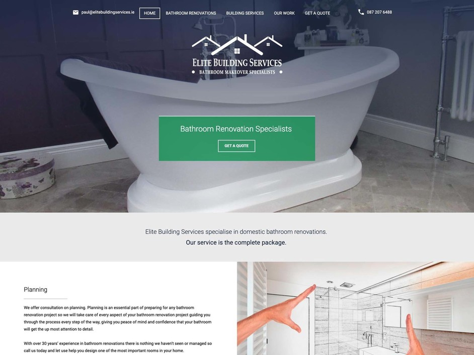 The Elite Building Services website created by it'seeze Dublin