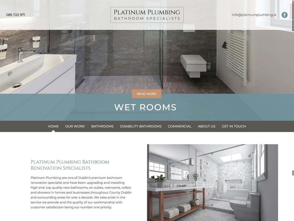 The Platinum Plumbing website created by it'seeze Dublin
